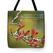 Spring Leaves Greeting Card With Verse Tote Bag