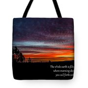 Spring Peaceful Morning Sunrise Bible Verse Photography Tote Bag