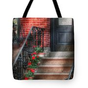 Spring - Porch - Hoboken Nj - Geraniums On Stairs Tote Bag by Mike Savad