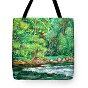 Spring Rapids On The New River Tote Bag