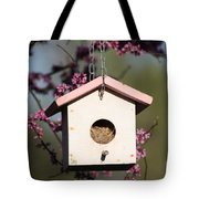 Spring Time Bird House Tote Bag