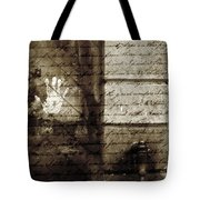 spring water memories - A letter and hand print composition beside a vintage griffin Tote Bag