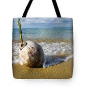 Sprouting Coconut Washed Up On Beach Tote Bag by Naki Kouyioumtzis