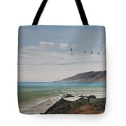 Squadron Of Pelicans Central Califonia Tote Bag