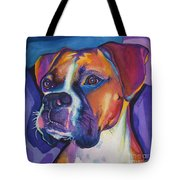 Square Boxer Portrait Tote Bag by Robyn Saunders
