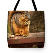 Squirrel Eating A Peanut Tote Bag