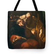 St. Benedict And A Hermit Tote Bag