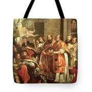 St. Bernard Of Clairvaux 1090-1153 And William X 1099-1137 Duke Of Aquitaine Oil On Canvas Tote Bag