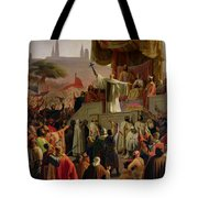 St Bernard Preaching The Second Crusade In Vezelay Tote Bag