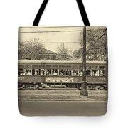 St. Charles Ave. Streetcar Sepia Tote Bag