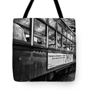 St. Charles Ave Streetcar Whizzes By-black And White Tote Bag