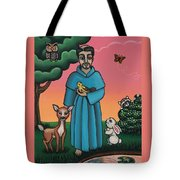 St. Francis Animal Saint Tote Bag by Victoria De Almeida