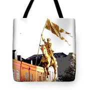 St Joan Of Arc Statue At Dawn Tote Bag