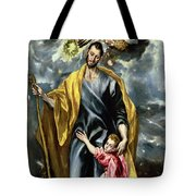 Saint Joseph And The Christ Child Tote Bag