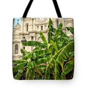 St. Louis Cathedral And Banana Trees New Orleans Tote Bag