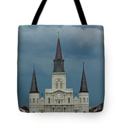 St Louis Cathedral Under Storm Clouds Tote Bag