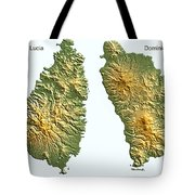 St Lucia And Dominica Map Tote Bag