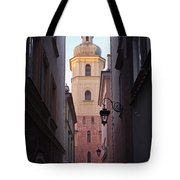 St. Martin's Church Bell Tower In Warsaw Tote Bag
