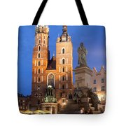 St Mary Basilica And Adam Mickiewicz Monument At Night In Krakow Tote Bag
