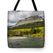 St. Mary River And East Flattop Mountain Tote Bag