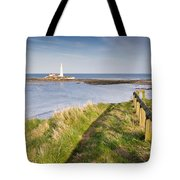 St Marys Lighthouse From Cliff Top Tote Bag