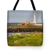 St Marys Lighthouse With Daffodils Tote Bag