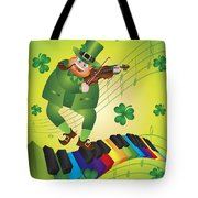 St Patricks Day Leprechaun Dancing On Piano Keyboard Tote Bag