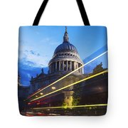 St. Pauls Cathedral And Light Trails Tote Bag by Mark Thomas