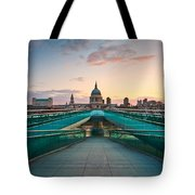 St. Paul's Cathedral And Millennium Bridge In London Tote Bag
