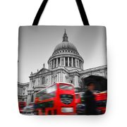 St Pauls Cathedral In London Uk Red Buses In Motion Tote Bag