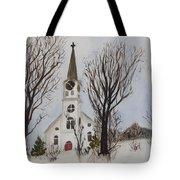 St. Pauls Church In Barton Vt In Winter Tote Bag