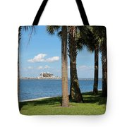 St Pete Pier Through Palm Trees Tote Bag