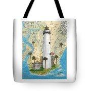 St Simons Lighthouse Ga Nautical Chart Map Art Cathy Peek Tote Bag