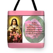 St. Theresa Prayer With Pink Border Tote Bag