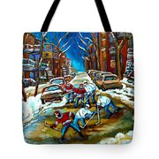 St Urbain Street Boys Playing Hockey Tote Bag