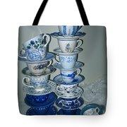 Stack Of Blue Teacups  Tote Bag