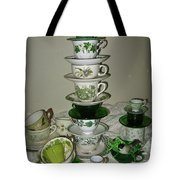 Stack Of Green Teacups  Tote Bag