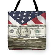 Stack Of Money On American Flag  Tote Bag