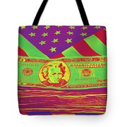 Stack Of Money On American Flag Pop Art Tote Bag