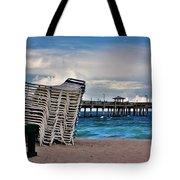 Stacked Beach Chairs Tote Bag