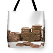 Stacks Of American Pennies White Background Tote Bag