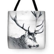 Stag In Black And White Tote Bag