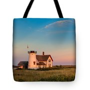 Stage Harbor Lighthouse Square Tote Bag by Bill Wakeley