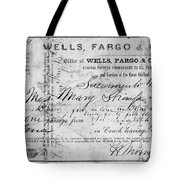 Stagecoach Ticket 1868 Tote Bag