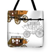 Stagecoach Without Horses - Color Sketch Drawing Tote Bag