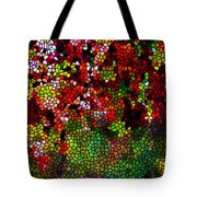 Stained Glass Autumn Leaves Reflecting In Water Tote Bag