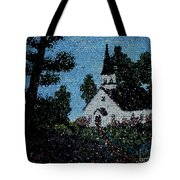 Stained Glass Church Scene Tote Bag