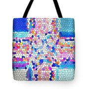 Stained Glass Colorful Cross Tote Bag