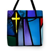 Stained Glass Cross Tote Bag by Karen Lee Ensley