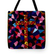 Stained Glass Cross Tote Bag